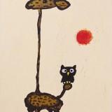 A Giraffe is walking with Owl.